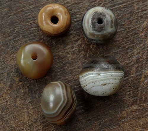 5 x Ancient Agate Stone Beads -  Nepal