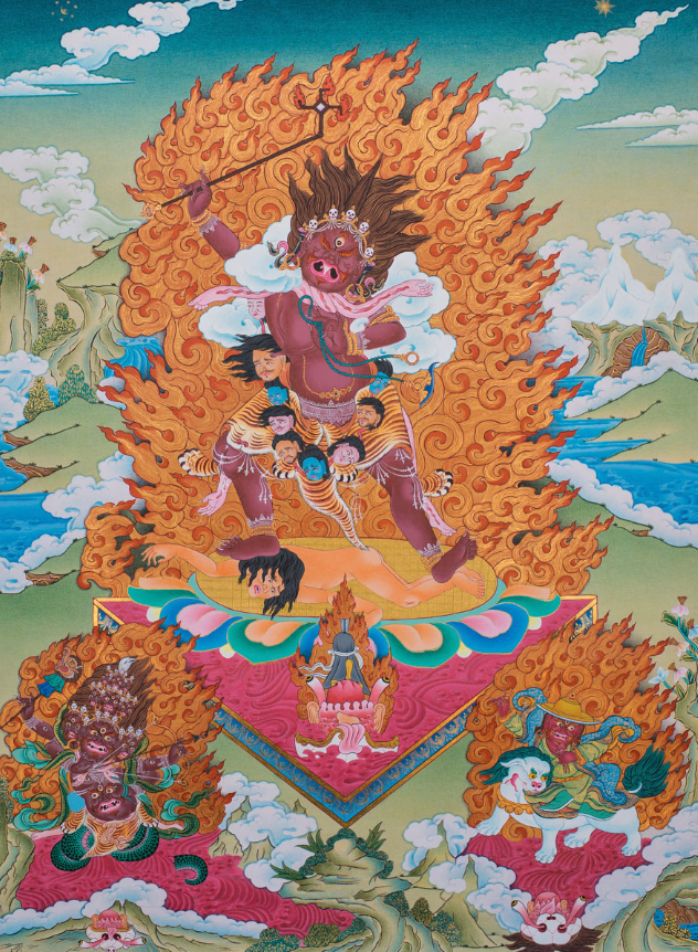 Ekajati, Rahula and Dorje Lekpa - Dzogchen Guardians Thangka