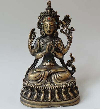 Vintage Four Armed Avolokiteshvara or Chenrezig Statue - 20th C