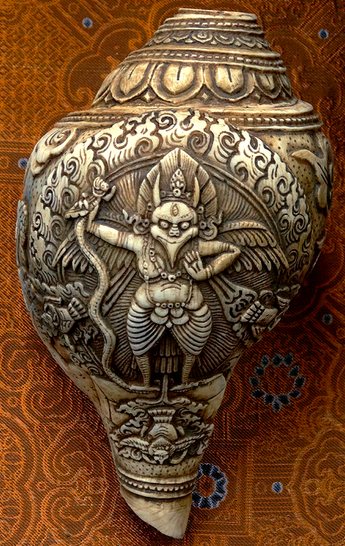 Large Carved Indian Conch or Chank Shell - Garuda Design