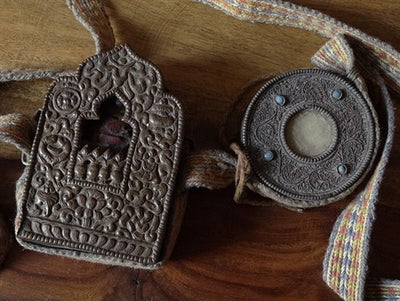 Two Antique Tibetan Gaus or Reliquary Amulets with Lama Statue