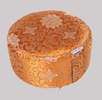 Golden Orange Lotus Brocade Meditation Cushion - height 15 cms