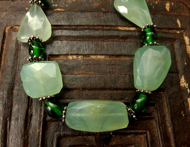 Green Chalcedony Gemstone Necklace with Green Glass & Hilltribe Silver