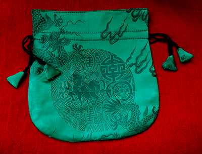 Finest Silk Mala Bag -  Green - Dragon, Horse Longevity Symbol