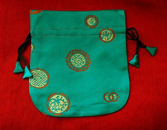Finest Silk Mala Bag -  Green - Longevity Symbols