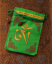 Embroidered Om Tare Tutare Ture Soha Prayer Flags - Green Tara