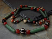 Authentic Ancient Green Chalcedony, Pumtek & Carnelian Bead Necklace - 46 beads
