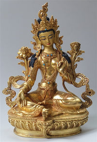 Fully Gilded Green Tara Statue - 8 inches