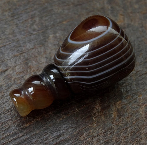 Large Banded Agate Guru Bead -  20mm - Long Barrel