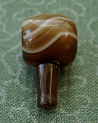 Large Brown Banded Agate Guru Bead -  17mm