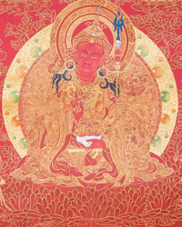 Guru Rinpoche and Eight Manifestations Thangka - Gold on Red Background
