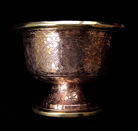 Large Hand Beaten Copper Alloy Raised Offering Bowls - Set of 7