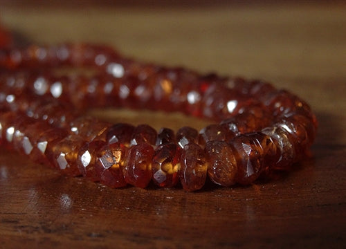 Natural Faceted Hessonite Garnet Gemstone Strand - 15 inches