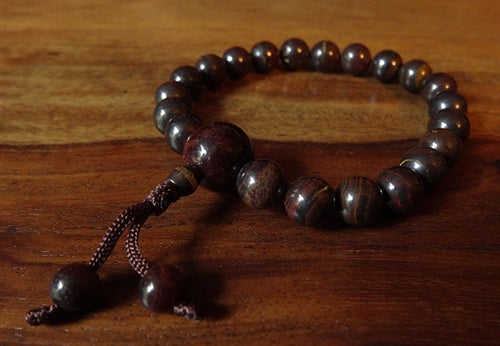 Red Iron Tiger's Eye Wrist Mala - 21 beads