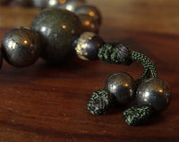 Golden Pyrite Wrist Mala with Jadeite Guru Bead - 21 beads