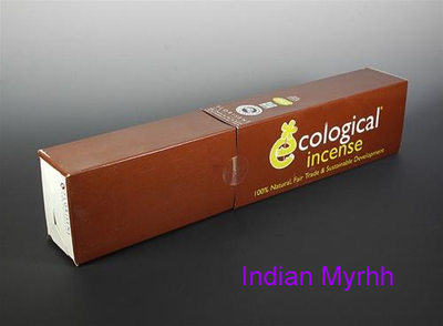 Indian Myrhh Ecological Fair Trade Ayurvedic Indian Incense - 100 Sticks