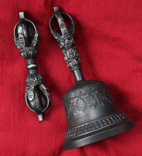Rare Dharmachakra Bell & Dorje Set - Master Quality 5 Prong Iron Vajra & 5 Prong Iron Handle