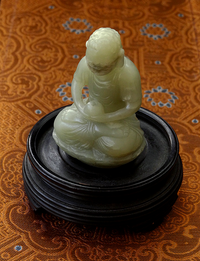 Antique Chinese Jade Buddha Amitabha Statue - Early 20th C