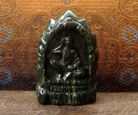 Rare Jade Milarepa Cave Carving - 3.1 inches