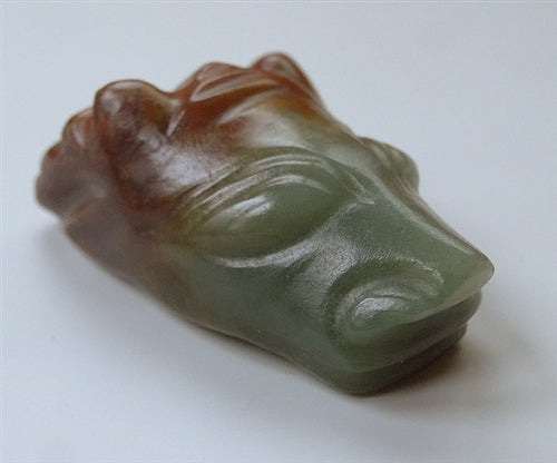 Old Chinese Mythical Horned Beast Jade Pendant - 20th C