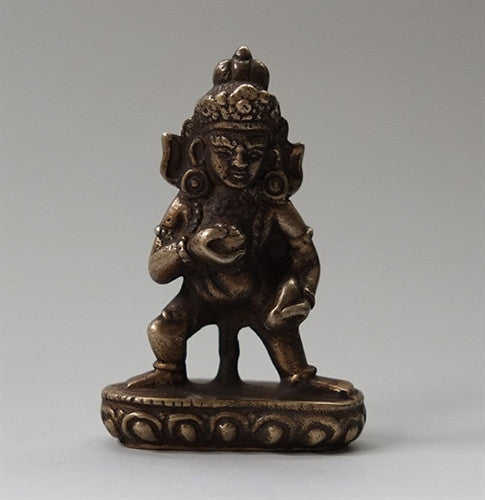 Small Bronze Standing Black Dzambhala Statue - 2.8 inches