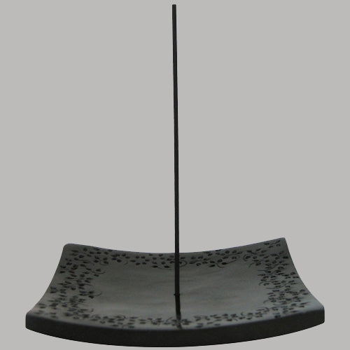 Japanese Square Stone Incense Holder engraved with flowers