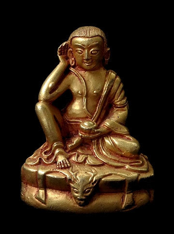 Small Gilded Copper Milarepa Statue - 2.3 inches