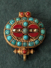 Tibetan Gilded Gau with Vajra Design - Inlaid with Turquoise & Coral