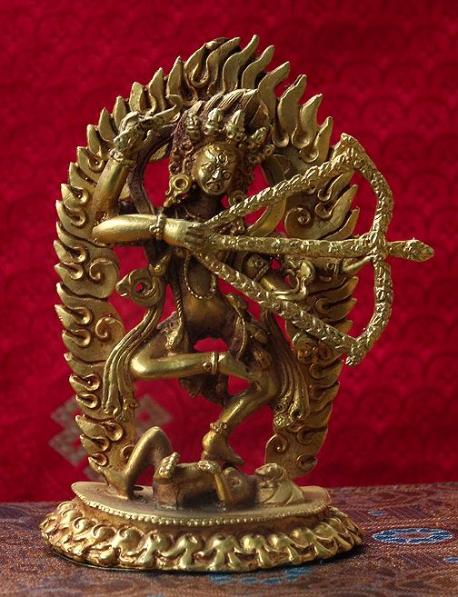 Small Gilded Copper Kurukulla Statue