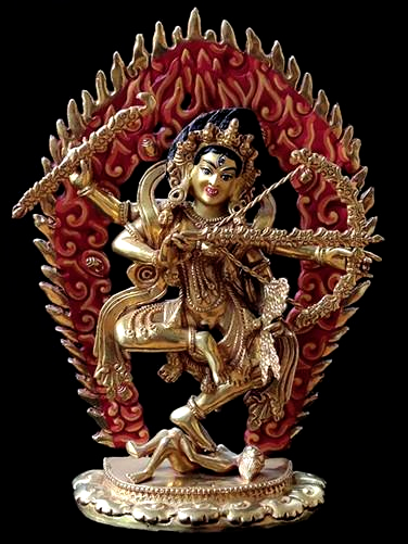 Fully Gilded Copper Kurukulla Statue - 8 inches