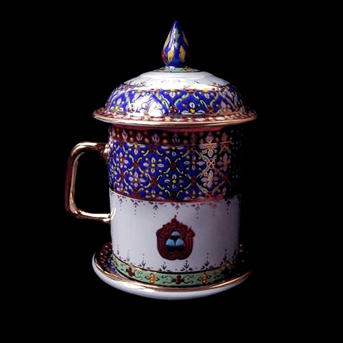 Special Tibetan Tea Cup with 'Three Jewels' Design - Finished with 12K Gold - Royal Blue
