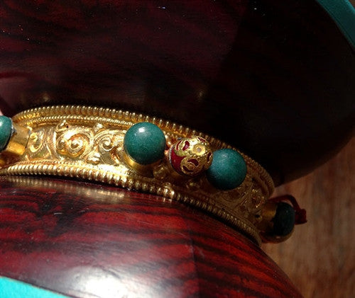Traditional Nepalese Damaru with Gold Plated Band & Gemstones