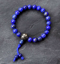 Lapis Lazuli Wrist Mala with Golden Pyrite Guru Bead - 21 Beads