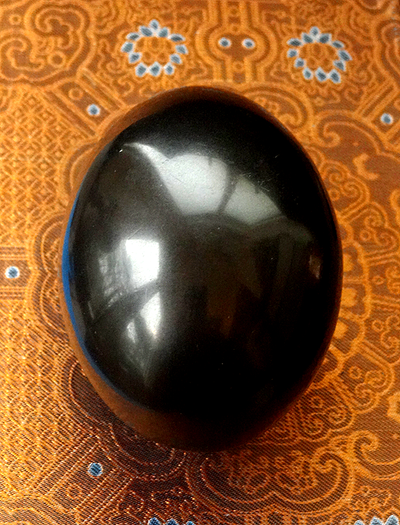 Black Saligram Shiva Lingam Stone - 3.6 Inches