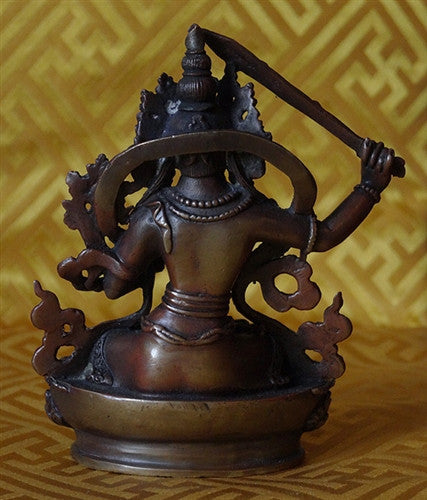 Small Copper Manjushri Statue - 3.25 inches