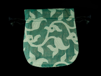 Finest Silk Mala Bag -  Green Paisley Vine