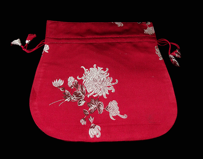 Finest Silk Mala Bag -  Red Flowers