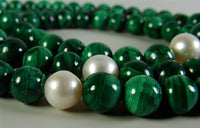 Malachite, Agate & Pearl Mala - 8mm