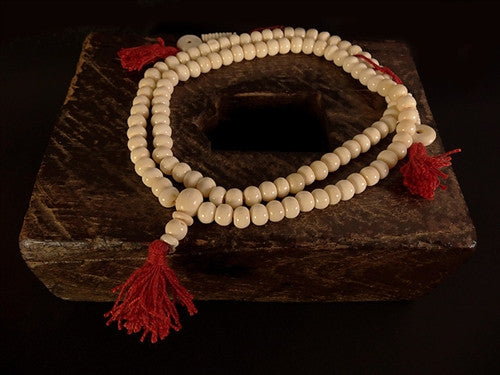 White Bone Mala with counters