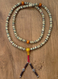 White Bone Mala with Inlay and Dividers and Beaded Tassle