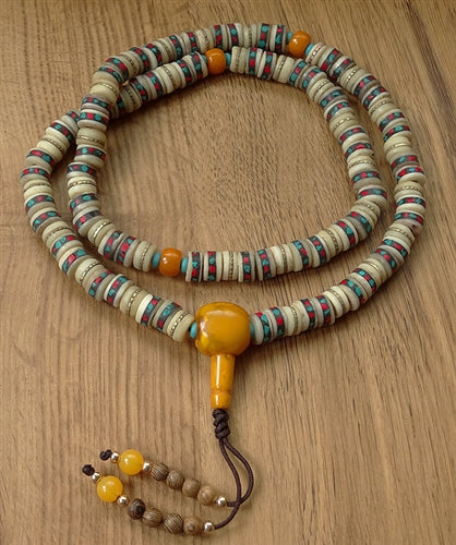 Finest White Bone Mala with Inlay and Dividers and Beaded Tassle
