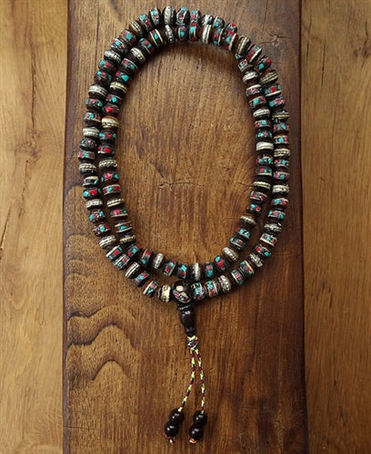 Dark Bone Mala with Inlay - 8.5mm