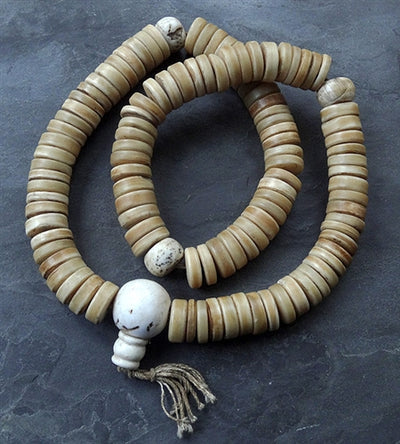 Extra Large Disc Bead Bone Mala with conch dividers - 21mm