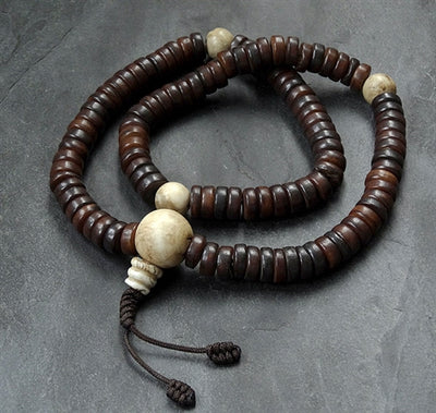 Antique Style Disc Bead Bone Mala with Conch Dividers - 11mm