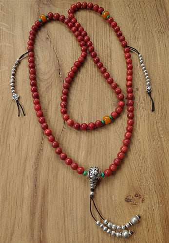 Red Coral Mala with Counters and Dividers - 8mm