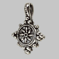 Small Silver Plated Dharma Wheel Mala Marker or Bum Counter