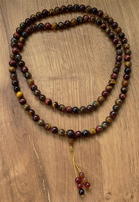 Red and Gold Tiger's Eye Mala - 8mm