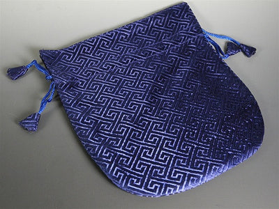 Large Brocade Silk Mala Bag - Tibetan Maze - Blue
