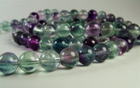 Fine Quality Fluorite and Amethyst Mala - 8mm