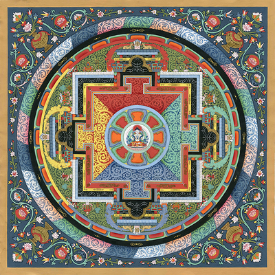 Avolokiteshvara Mandala Thangka - Fine Art Thangka Reproduction - by Flera Birmane
